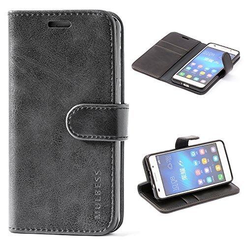 Mulbess Ledertasche im Ständer Book Case/Kartenfach für Huawei Honor 6 Tasche Hülle Leder Etui,Schwarz