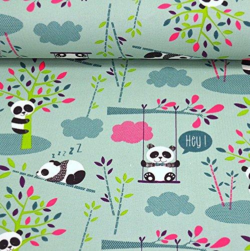 MAGAM-Stoffe Hey Panda Jersey Stoff Oeko-Tex Kinderstoff Meterware Coupon (50x160cm)