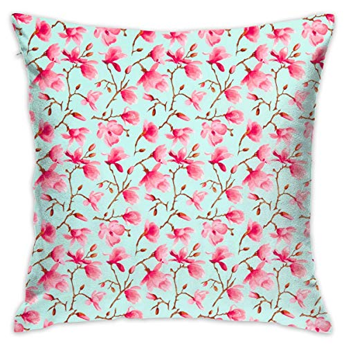 Pink Flowers Throw Pillow Cases Square Cushion Cover for Cars Sofa Bars Home Decorative 18x18 Pillowcase (Werfen Eines Baby-halloween-party)