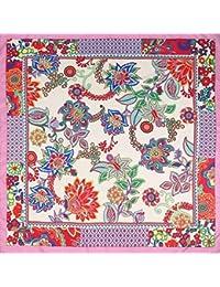 0968a83f798d Jiaa Foulards en Soie pour Femmes frisés écharpe carrée Style Ethnique Foulard  imprimé ...