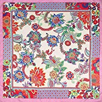 Jiaa Foulards en Soie pour Femmes frisés écharpe carrée Style Ethnique  Foulard imprimé ... af81f548d26
