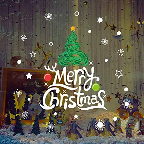 Decorie Merry Christmas Tree Design Wall Stickers for Windows Home Decor 90*60cm