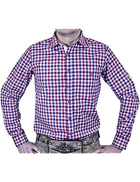 Maddox Slim Fit Trachtenhemd Ludwig - Blau Rot - Kariertes Herren Oberhemd