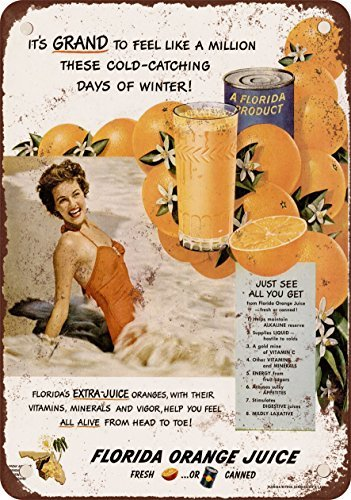 1950-florida-orange-juice-vintage-look-reproduction-metal-tin-sign-8x12-inches