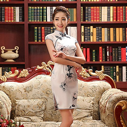 GUYIVVU Dress,Cheongsam Fashion Qipao Dresses Chinese Traditional Dress Silk Satin Print Flower Gray Short Sleeve Cheongsams Evening Dresses,Silver,S (Satin Cc)