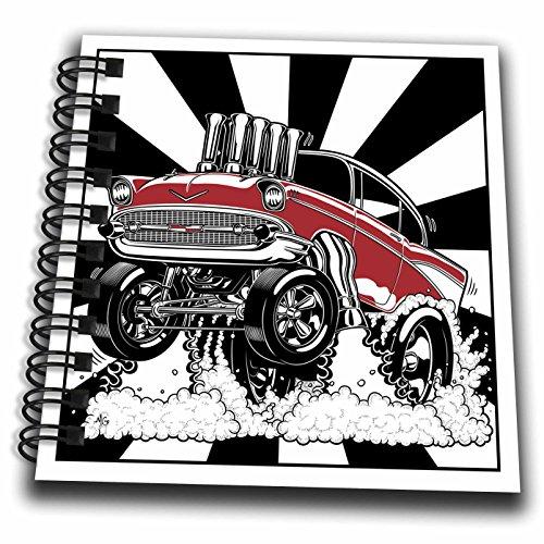 3drose DB _ 217340_ 3A Killer 57Hot Rod Drag Racing für Pink, mit einem Fuel Injected Motor Mini Notizblock, 4von 10,2cm 4-zoll-motor