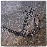 3drose LLC 20,3x 20,3x 0,6cm Maus Pad, Mann mit einer Gitarre aus Metall auf einem Musical Hintergrund (MP _ 64872_ 1)