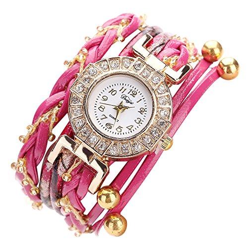 KiyomiQvQ Elegant Damen Uhren,Luxus Diamant Uhren Vorzüglich Klein Zifferblatt Watch Hand Weberei Rebe Form Lederband Armbanduhren Mode Quarz Uhren Handseil Armreif -