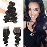 BLISSHAIR 7A Grade Human Hair Weave Extensions Br¨¦silien Hair Extension Perruque 3 Bundle trame + 1 lot de dentelle fermeture frontal