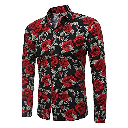 emd Business Slim Fit Shirt Druck Top Männliches langärmeliges bedrucktes Bluse (X-Large, Schwarz) ()
