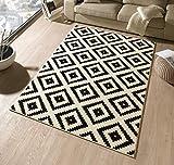 Hanse Home Designer Tapis en Velours noir/crème/102332 Losange, 120 x 170 cm