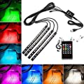 Car Interior Lights, EECOO Waterproof 4x12 LED Neon Lamp Lights for Car Auto Decoration Music Sound-activated Lighting Kit 12V Multi-color Car LED Strip Lights (with USB Port) - inexpensive UK light shop.