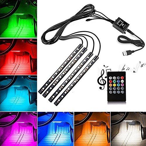 Auto Atmosphäre Licht EECOO 48 LED Auto Innenbeleuchtung Streifen LED Leuchten USB-Port Autoladegerät Innenraumbeleuchtung Auto Lichtleiste mit Fernbedienung