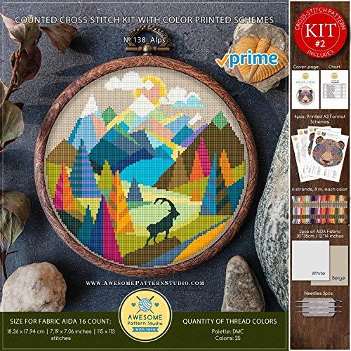 Kreuzstich-Set Kreuzstich Alps #K138 Kreuzstich-Set, Berge Skyline Kreuzstich-Set, Kreuzstichwelt (englischsprachig) Printed Schemes Kit #2 - PRIME