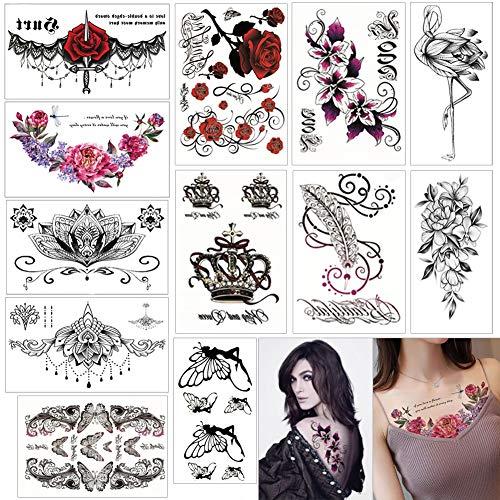 Temporäre Tattoos Frauen Wasserdicht Temporäre Tätowierung Blumen Gefälschte Tätowierungen Body Art-12 Pcs