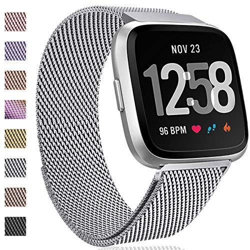 Hamile Kompatibel für Fitbit Versa Armband/Fitbit Versa 2, Metall Ersatzarmbänder mit Starkem Magnetverschluss für Fitbit Versa/Versa 2/Versa Lite/SE Smartwatch, Groß Silber -
