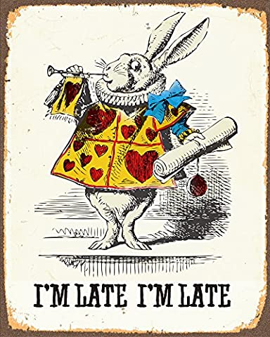 Alice In Wonderland Rabbit i'm late METAL Wall Sign 6x8inches