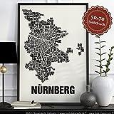 Nürnberg Buchstabenort Schwarz auf Naturweiß