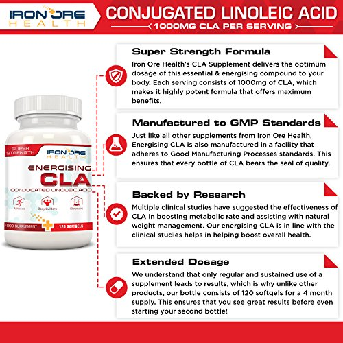 61QKk 4sX6L. SS500  - CLA | Non-Stimulating, Non-GMO & Gluten-Free | 120 Count | Made in The UK by Iron Ore Health