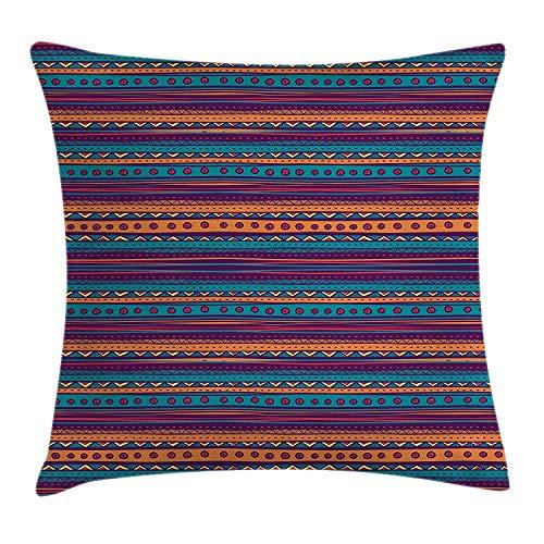 Zhengzho Kissen KissenbezugGestreifter Retro aztekischer Muster-reicher mexikanischer ethnischer Farbfolklorischer Druck Decor Square Pillow Case 45x45 cm -