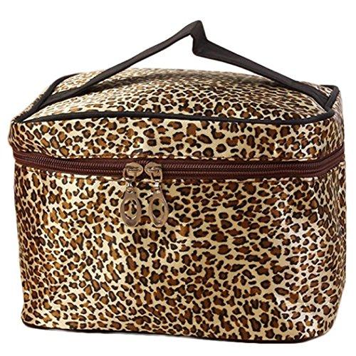 Fulltime® Leopard Imprimer CosméTiques Sacs Femmes Voyage Sac De Maquillage Make Up Sacs