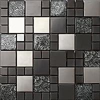 3-er Glas und Edelstahl Mosaik Fliesen Matte in Schwarz und Silber 3 Pack 30cm x 30cm x 8mm Matten (MT0002 x 3)