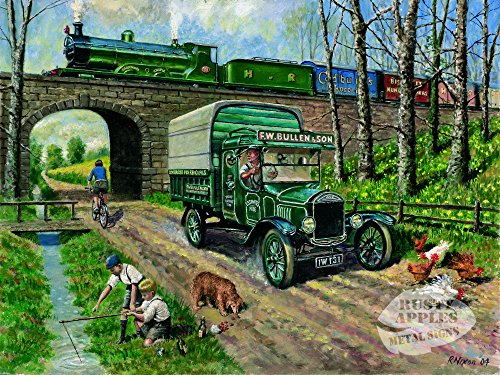 Die Rostigen Äpfel Metal Sign Co Vintage Road Versus Rail Original Gemälde Metall Schild