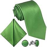 GASSANI 3-SET Grüne Krawatte Karo kariert | Manschettenknöpfe Einstecktuch | Hell-Grün Krawattenset zum Anzug Seide-Optik