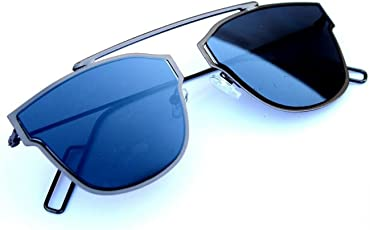 Elegante UV Protected Blue Mirrored Premium Rectangular Unisex Sunglasses
