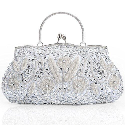 Silber Clutch Damen Handtasche mit Perlen Pailletten Schulterketten,Valentinstag Geschenk für Frauen Glitzer Retro Party Hochzeit Theater Abendtasche Tasche Schultertaschen Umhängetasche Brauttasche -