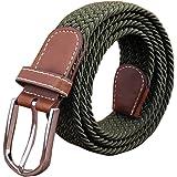 SZJH Mens Belt Casual Braided Elastic Fabric Woven Stretch Elasticated Belts