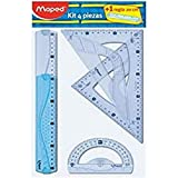 Maped 227835 - Kit trazado 4+1, regla de 30 cm, cartabón, escuadra, transportador y regla 20 cm, Colores Surtidos