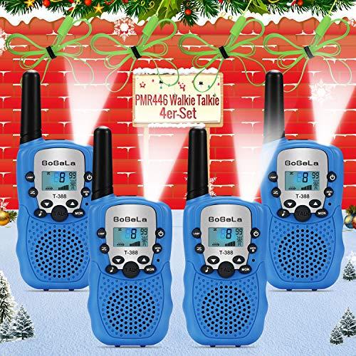 Bobela T388 Funkgeräte Kinder Walkie Talkie Set mit Lampe LCD Dispplay/VOX PMR Lizenzfrei Walky Talky 8 Kanäle 0.5w 3km Walki Talki Geschenke für Kinder ab 3 5 8 Jahre (4er-Set, Blau)