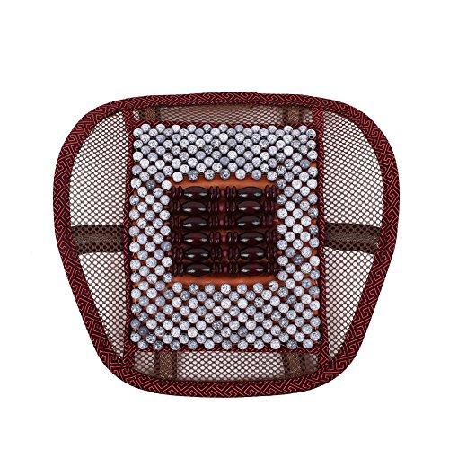 Sedeta® protecteur siège arrière de voiture Siège de massage en bois Perle Couverture taille coussin bord couleur rouge gris