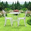IKAYAA 3tlg. Balkonmöbel Gartenmöbel Set mit Rose Muster 1xTisch + 2xStuhl von IKAYAA - Gartenmöbel von Du und Dein Garten