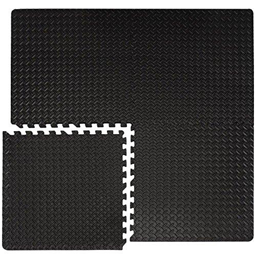 EYEPOWER 4er Set 1cm Bodenschutzmatten 63x63 - Fitness Bodenmatte 1,6qm - Schutzmatte mit Rand...