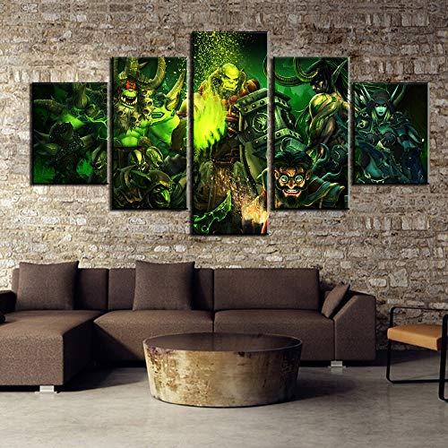 JSBVM HD-Druck 5 Panel World of Warcraft-Spiel Bild Modern Segeltuch Wandkunst Zuhause Dekor Für das Wohnzimmer Malerei,A,20×35×2+20×45×2+20×55×1 Arte-dekor