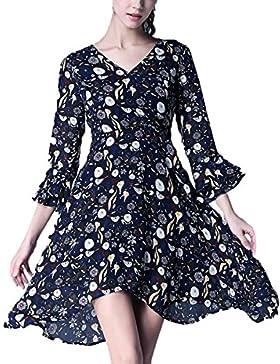 Vestido De Otoño Tamaño Grande Vestido De La Mujer Dobladillo Irregular Perfecto Moda Vestido