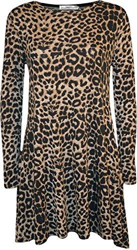 Damen Lange Ärmel Midi A Line Skater Swing Kleid Jersey Flared Tee Uni Gr. 36, Leopard Print (Leopard-print-jersey)