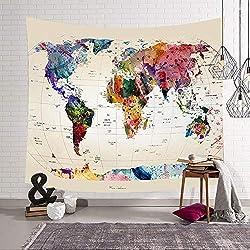 Morbuy Tapiz Pared de Creativo Decoración Tapices Mapa del Mundo Impreso Tapicería Cubierta del Sofa Manteles Cortina Picnic Blanket Playa Accesorio Casero (Pequeño (130 x 150 cm), Fondo Blanco)