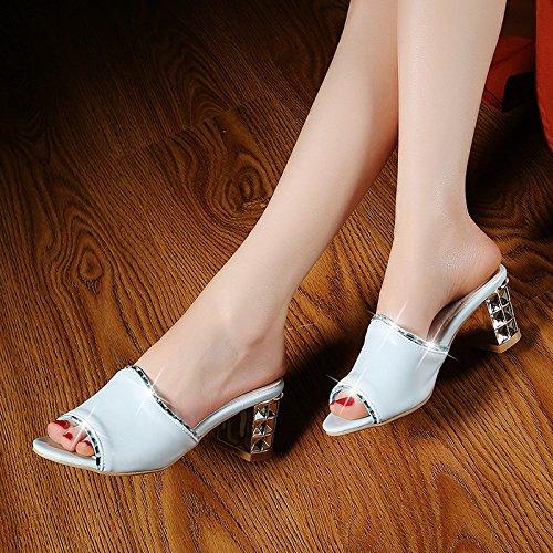ZYUSHIZ Frau Western Stitching Sandalen Rauh mit bequemen Hausschuhen Weiß