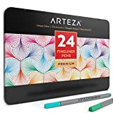 Best Pens For Lefties - Arteza Fineliner Pens 24 Assorted-Colors Metal Gift Tin Review
