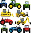 Childrens Tractors & Diggers Multipack - Pack of 10 - Wall Art Vinyl Printed Stickers