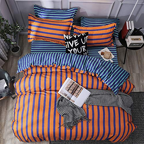 SHJIA Nordic Black Spot Bettbezug Set Einfarbig Bettlaken Kissenbezug Polyester Bettwäsche-Sets Bettwäsche Weiche Bettbezug Orange 200x200cm