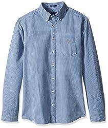 GANT Mens Indigo Reg Button Down Shirt, Dark Indigo, Medium