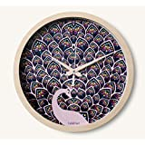 "Cubikfeet Creations 11"" High Quality Peacock Inspired Design Wooden Frame Decorative Wall Clock With Glass Cover"
