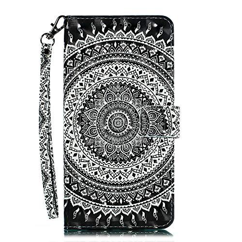 Coopay für Samsung Galaxy A70 6.7 Zoll Handyhülle,3D Bling Design Schick Schwarz Weiß Mandala Muster Ledertasche,Flip Kunstleder Bookcase mit Karten Slot Ständer Anti-Scratch Funktion + Schlüsselband (Tasche Scratch-karte)