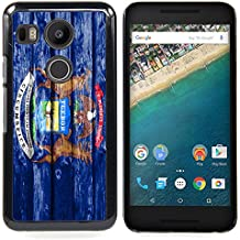 FJCases Michigan The Great Lake State Bandera con Patrón de Madera Carcasa Funda Rigida para Google Nexus 5X