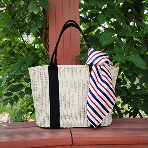 Dire-wolves Handgefertigt Damen Handtasche Bambus Einkaufstasche Stroh Geflochtene Tasche Strandtasche Handgelenkstasche Freizeit Strohsack für Frauen Sommer Mode Strohsack Strandtasche (Beige)