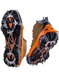 WEYN 19 Dientes Crampones Acero Inoxidable Tacos de Tracción Antideslizante Garras Cadena para Caminar Correr Escalar sobre Nieve o Hielo L (40.5-45) Naranja